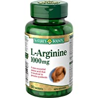 Nature's Bounty L-Arginine Supplement, Involved in Protein Synthesis, 1000mg, 50 Tablets