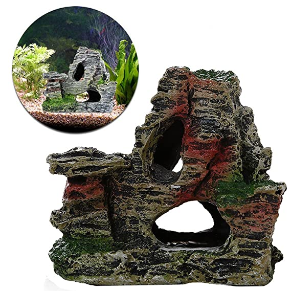 Amazon.com : Wffo Mountain View Aquarium Rockery Hiding Cave Tree Fish Tank Ornament Decoration (B) : Pet Supplies