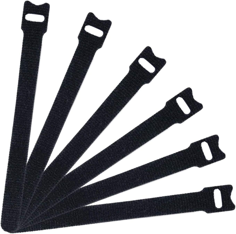 Oxeanus 50 PCS Reusable Fastening Cable Ties Microfiber Cloth 8-Inch Hook and Loop Cord Ties Black