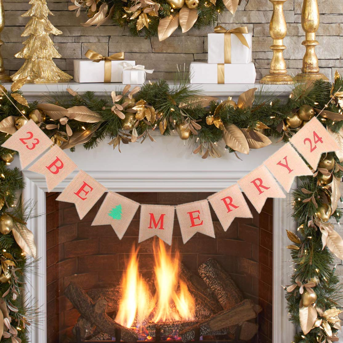 Buy Christmas Decorations Be Merry Burlap Banner, Merry Christmas