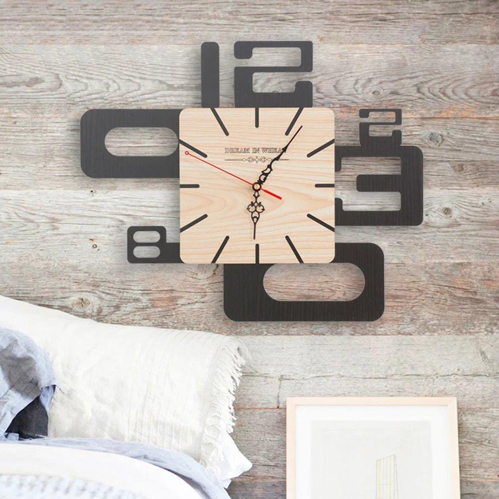 異型 壁時計 掛け時計 北欧 ウォールクロック 音しない  おしゃれ 壁掛式 時計 現代 モダン 木 独特 黒 16センチ UNUSUAL B01NCAU36A Sサイズ Sサイズ