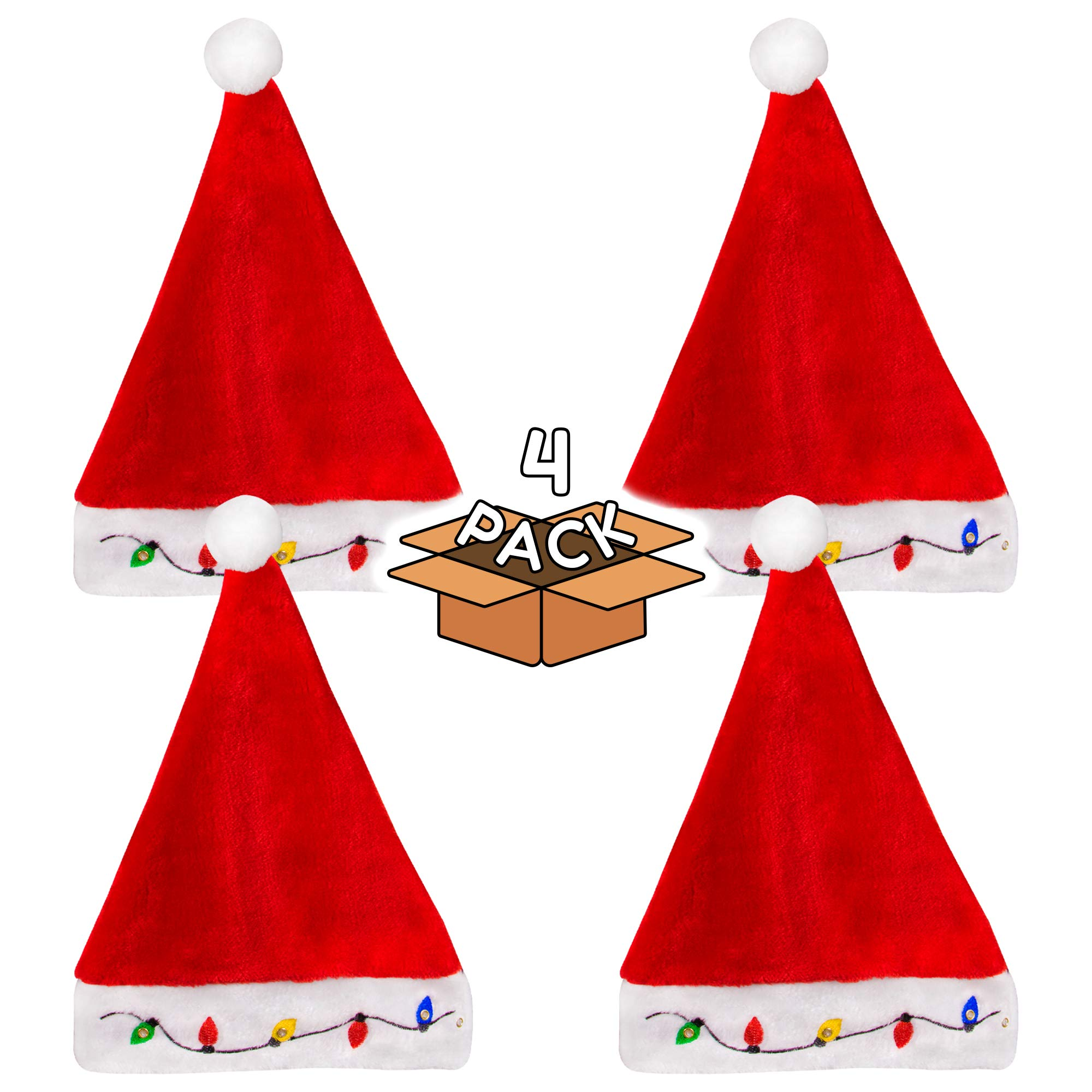 LED Light-up Christmas Bulb Plush Santa Hat for Adults and Kids - 4 Pack by Windy City Novelties