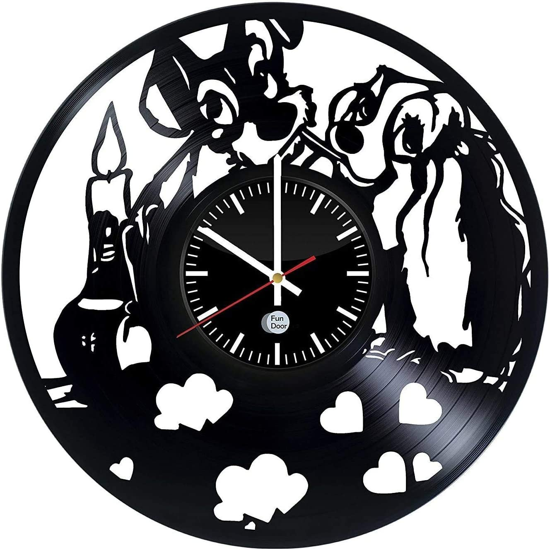 Lady and The Tramp Art Wall Clock Vinyl Record Decorative Wall Hanging Cartoon Ornament Housewarming Gift