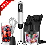 XProject HandBlender, Powerful 800W 4-in-1 Immersion Blender with 6 Speed Control, 500ml Chopper, Whisk, BPA Free Beaker 700ML, Storage Stand for Soups, Smoothie, Baby Food - FDA approved (Black)
