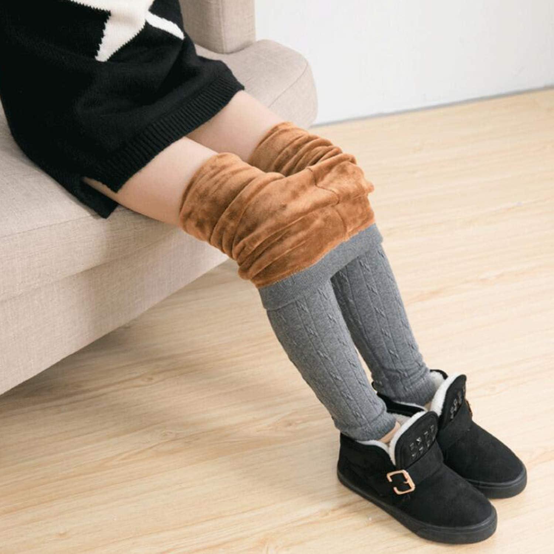 Evelin LEE Kids Girls Autumn Winter Warm Velvet Leggings Cotton Stretch Cable Knit Tight Pants