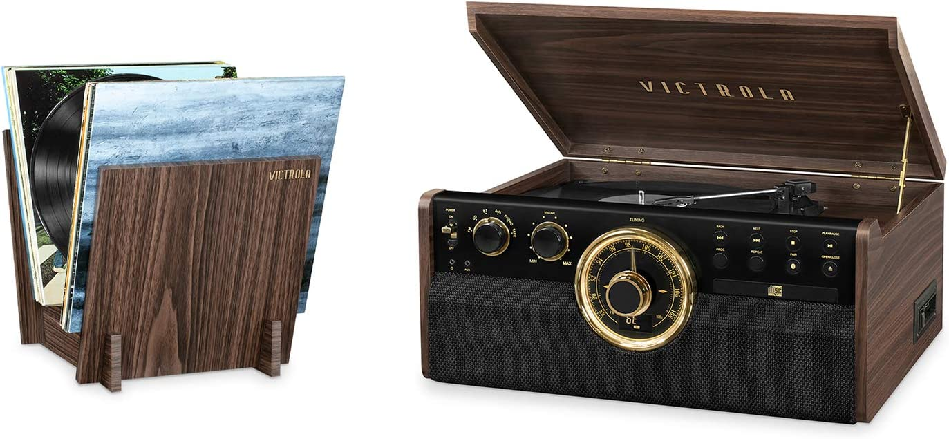 Victrola 6-in-1 Wood Bluetooth Mid Century Record Player with 3-Speed Turntable, CD, Cassette Player and Radio with Record Stand