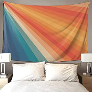Hippie Art Tapestry Wall Hanging Tapestries Retro 70s Sunrays Aesthetic Wall Blanket Wall Hanging Home Decor Tablecloths for Bedroom Living Room Dorm Restaurant, 60X50 inches