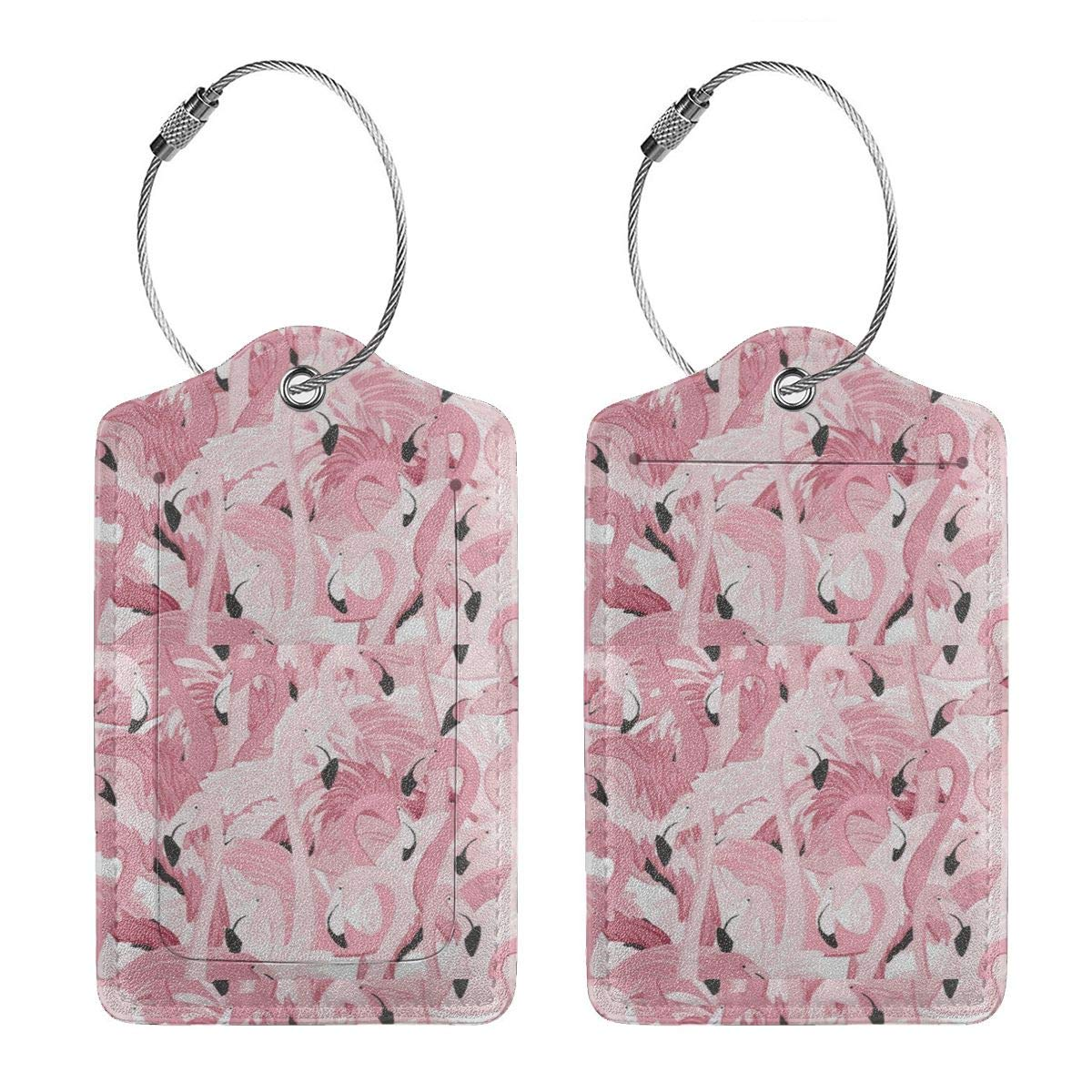 Pink Flamingos Leather Luggage Tags Personalized Address Card With Privacy Flap