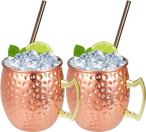 Hossejoy Moscow Mule - Taza con 2 vasos de cobre de 550 ml y 2 pajitas - Gran para cócteles, bebidas frías - 100% accesorios de cobre
