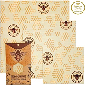 Reusable Beeswax Food Wrap -Premium Organic Beeswax Wrap - Sustainable and Eco-Friendly Reusable Food Wrap with Bees Wax, Jojoba Oil & Tree Resin -Assorted Set of 3 - Holds for up to a Year -by Beesy