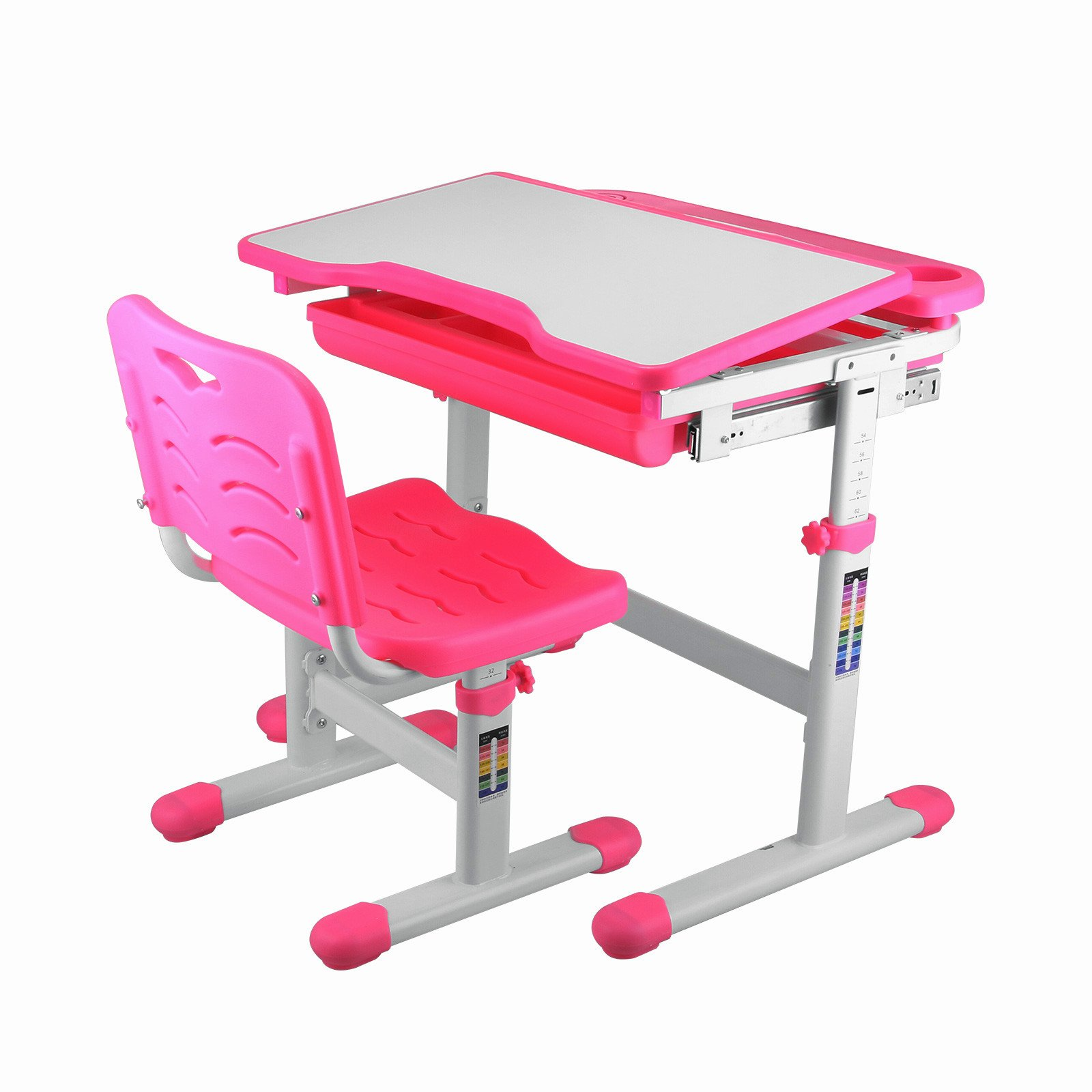 Forkwin Adjustable Children Desk from 21Inch to 30Inch Adjustable Study Desk for Ages 3-10 Adjustable Height Children's Desk Pink Children's Height Adjustable Study Desk (Pink) by Forkwin