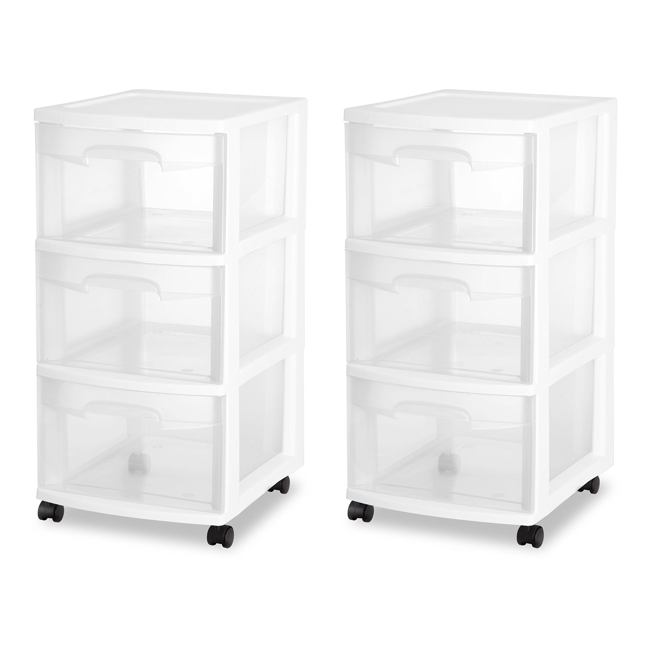 Sterilite 3 Drawer Cart, White, Cases of 2