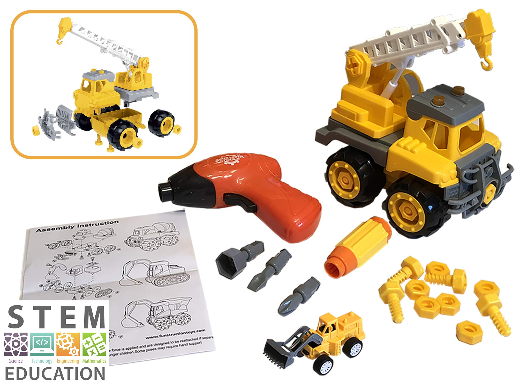 Funstruction Toys Take Apart Crane STEM Toy for 3 4 5 Year Olds - Kids Construction Vehicles with Electric Toy Drill and Screwdriver - Best Educational Trucks for Age 3- 4-5 Year Old Boys and Girls