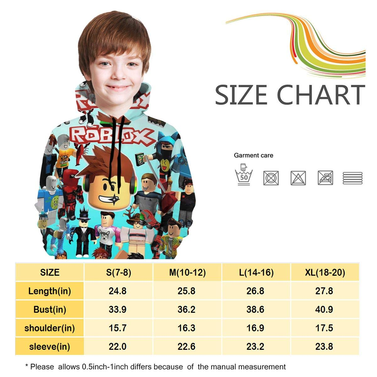 Chuangyitongxun Childrens Hoodies Ro-blox 3D Print Unisex Pullover Hooded Sweatshirts for Boys Girls Teen Kids