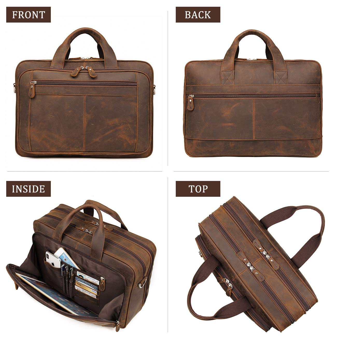 Augus Business Travel Briefcase Genuine Leather Duffel Bags for Men Laptop Bag fits 15.6 inches Laptop (Dark brown) by Augus (Image #3)
