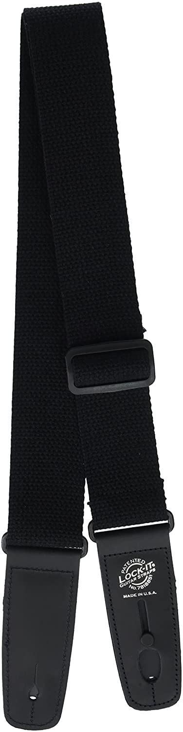 Lock-It Straps LIS 013 C2-BLK 2-Inch Guitar Strap, Cotton Black LIS013C2BLK