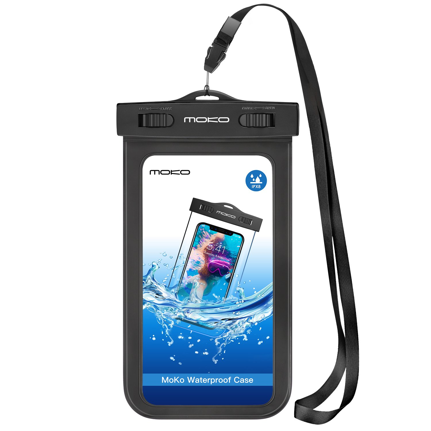MoKo Waterproof Phone Pouch, Underwater Waterproof Cellphone Case Dry Bag with Lanyard Armband Compatible with iPhone X/Xs/Xr/Xs Max, 8/7/6s Plus, Samsung Galaxy S10/S9/S8 Plus, S10 e, S7 Edge, Black by MoKo (Image #1)