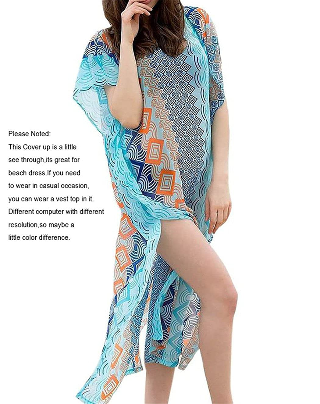 Esenfa Womens Long Chiffon Kaftan Beach Cover Up Beach Dress Wear Swimwear (blue): Amazon.co.uk: Clothing