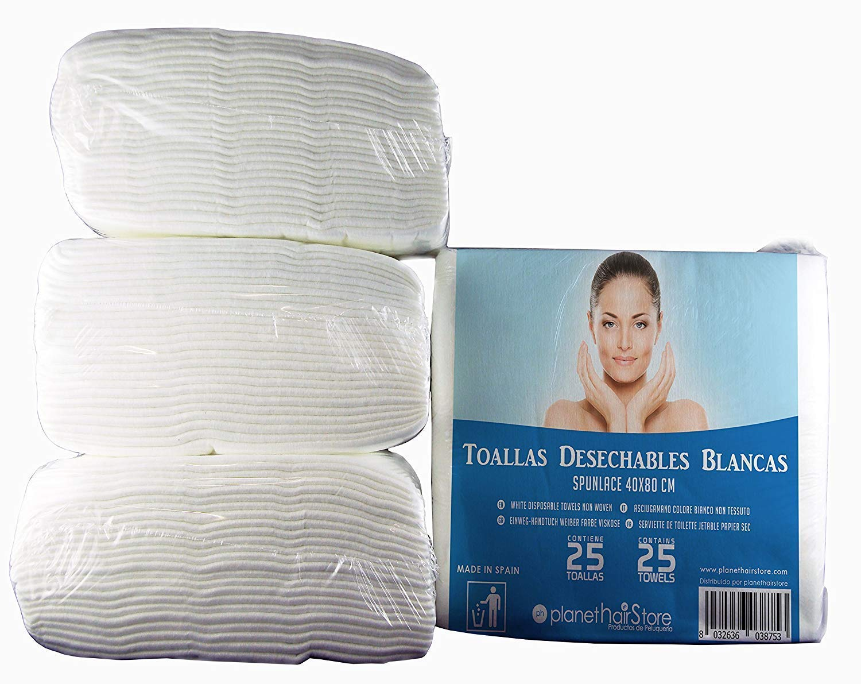 Toallas Desechables Peluquería PlanetHair Store® (300 uds) 40x80 Blancas Spunlace-Spunpet® Baratas 50 gramos paquetes de 25 unidades.