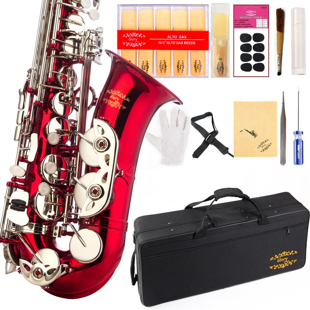 Glory Gold/Silver keys E Flat Alto Saxophone with 11reeds,8 Pads cushions,case,carekit-More Colors with Silver or Gold keys