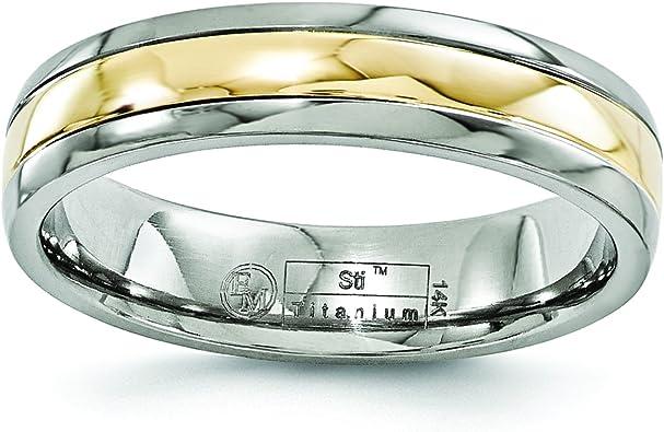 FB Jewels Solid Titanium 14K Yellow Inlay 10mm Polished Wedding Band Size 12.5