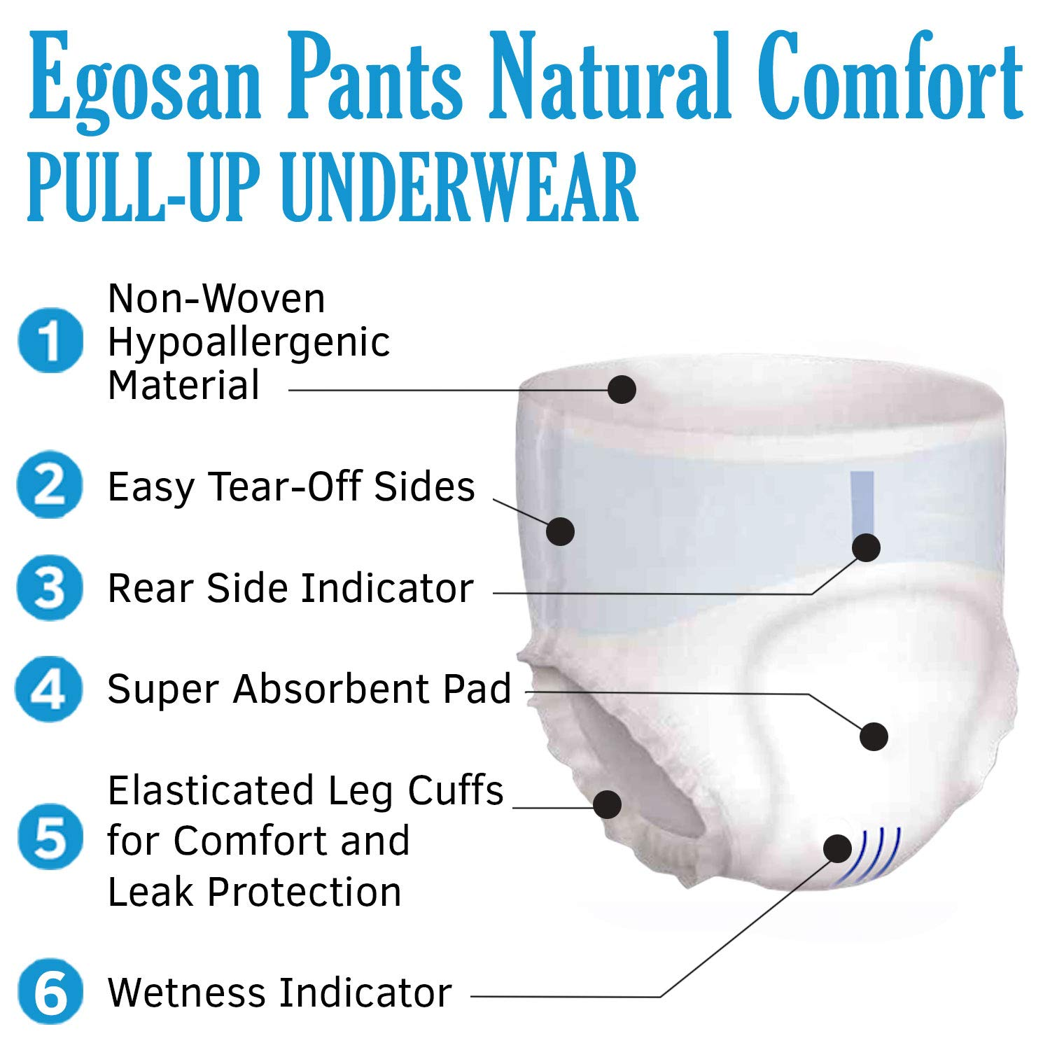 EGOSAN Ultra Incontinence Adult Diaper Brief Maximum Absorbency and Adjustable Tabs for Men and Women Large Sample