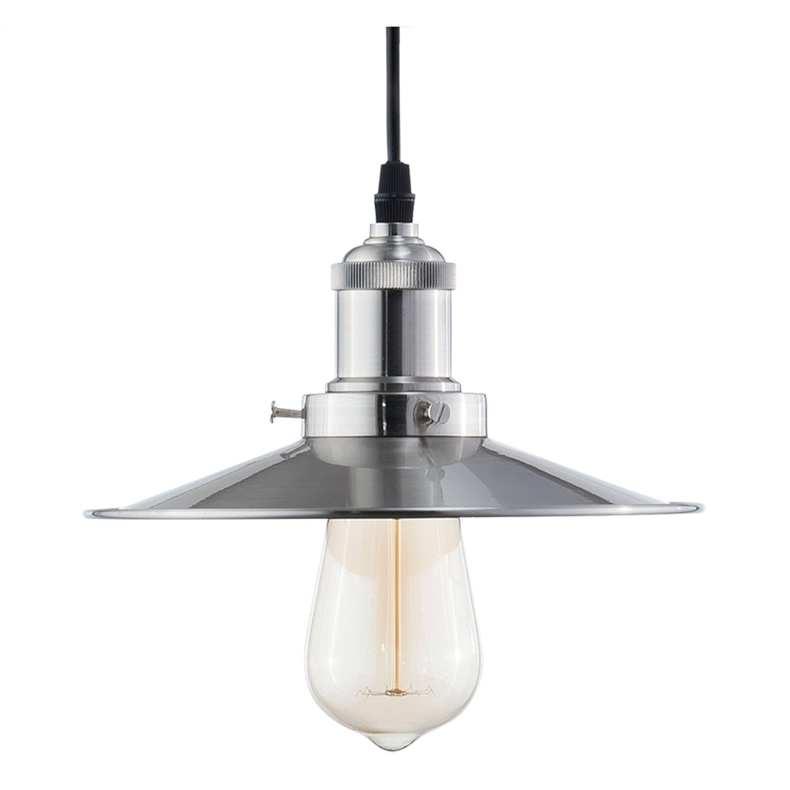 Light Society Avenue Mini Pendant Light, Brushed Nickel, Vintage Modern Industrial Lighting Fixture (LS-C173)