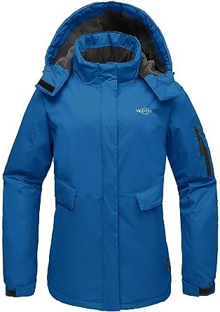 093c78d1af85 Wantdo Femme Anorak de Ski à Capuche Manteau d hiver Chaud Veste de Sport  Imperméable