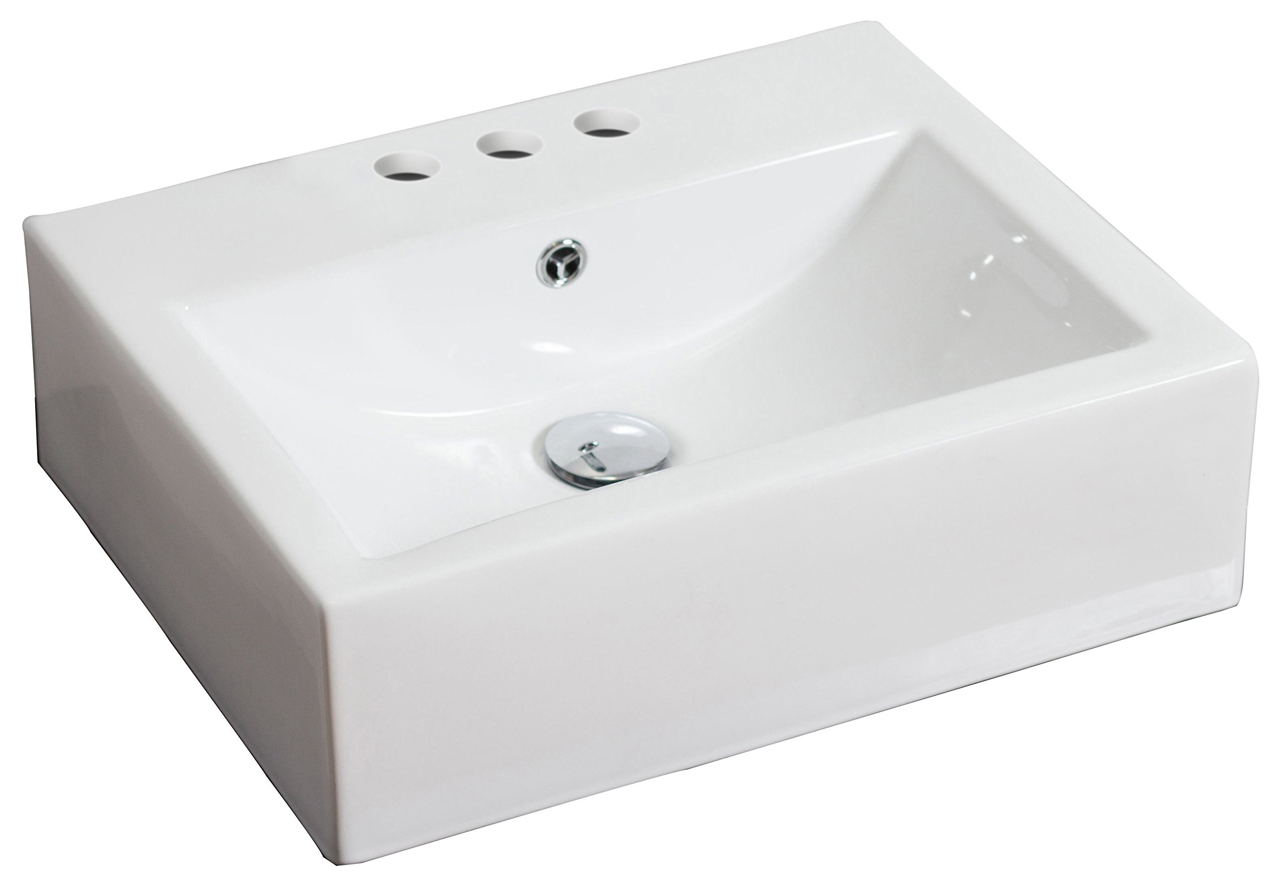 American Imaginations Rectangle Shape Vessel, comes with an Enamel Glaze Finish in White Color and Designed for a 4-In. O.C. Faucet