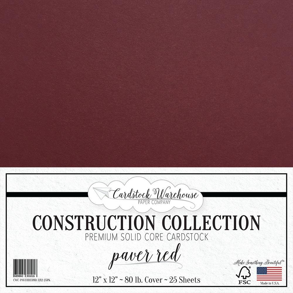 PAVER RED/WINE / BURGUNDY Cardstock Paper - 12 x 12 inch PREMIUM 80 LB. COVER from - 25 Sheets from Cardstock Warehouse