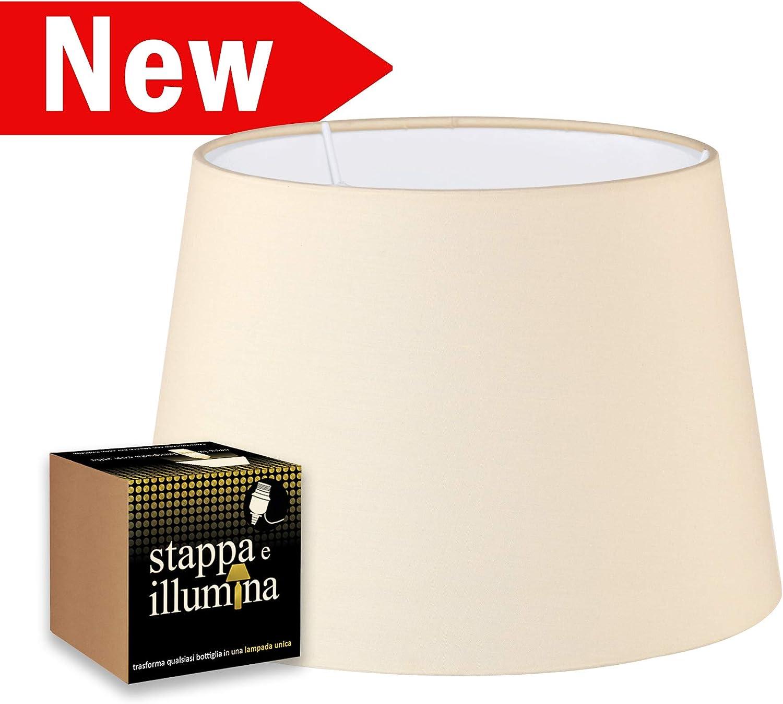 Kit de pantalla e iluminación para transformar tu lámpara de botella con una pantalla de tela - Pantalla de 33 cm de diámetro con portalámparas E27 - portalámparas para botella - Pantalla