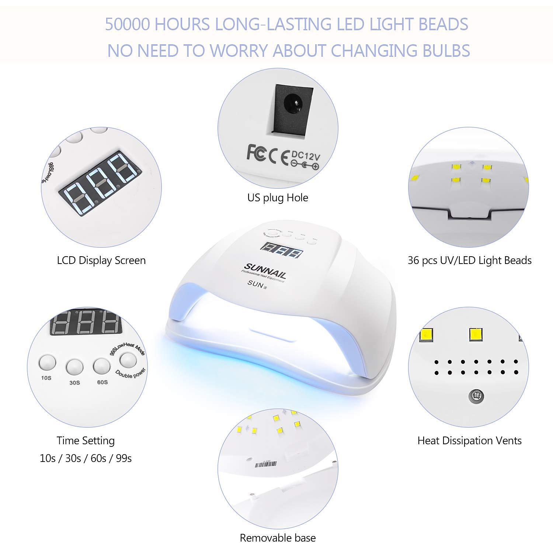 Amazon.com: 54 W lámpara de uñas UV, secador de uñas para ...