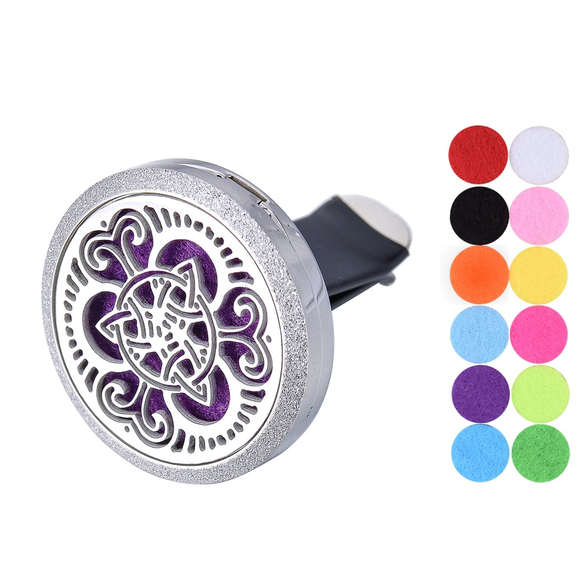 Car Air Freshener Aromatherapy Essential Oil Diffuser Vent Clip Stainless Steel Rhinestone Celtic Knot Locket with 12 Washable Felt Pads Supreme glory SGto-B286838