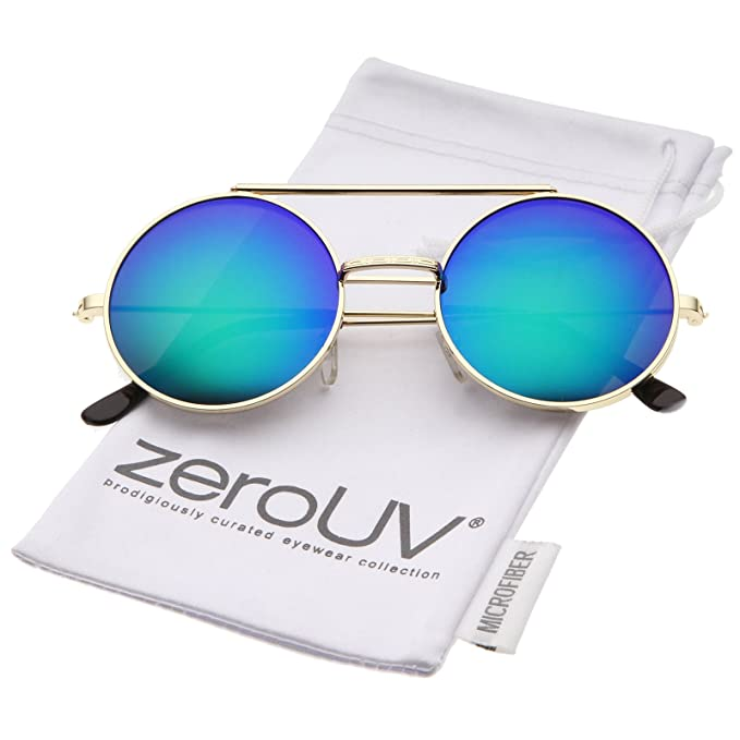 cad201f9e44 zeroUV - Mid Size Flip-Up Colored Mirror Lens Round Django Sunglasses 49mm  (Gold