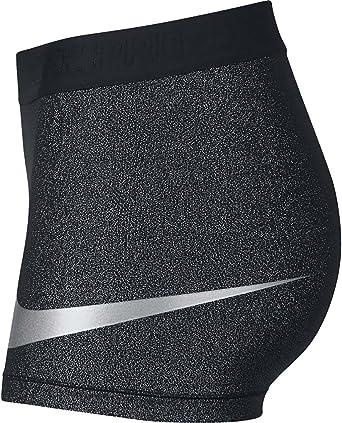 bfc7d9289a9cb Nike Women's Pro Cool Short 3 Inch (Black/Metallic Silver/Metallic Silver,  Small)