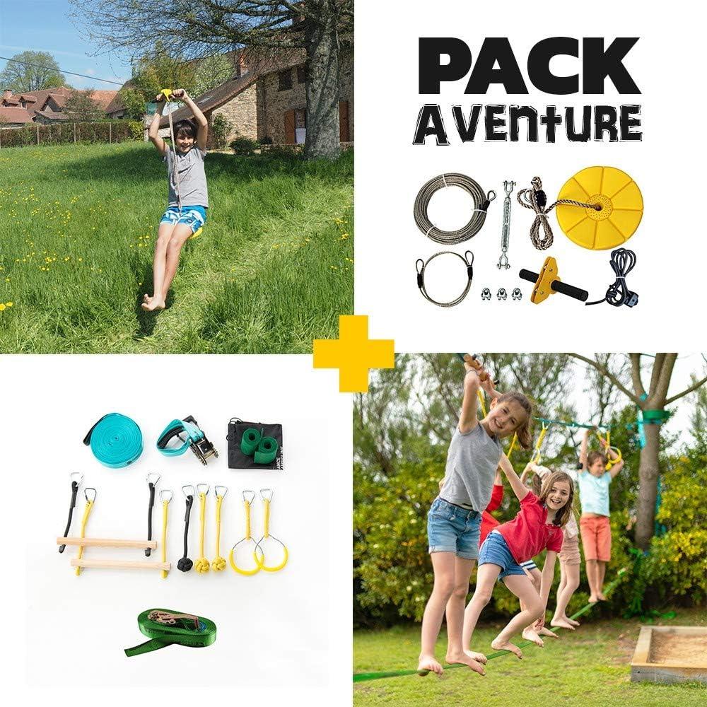 Pack Parcours type Ninja warrior + Tyrolienne Indiana - idéal pour mettre en place un parcours d'obstacle dans le jardin