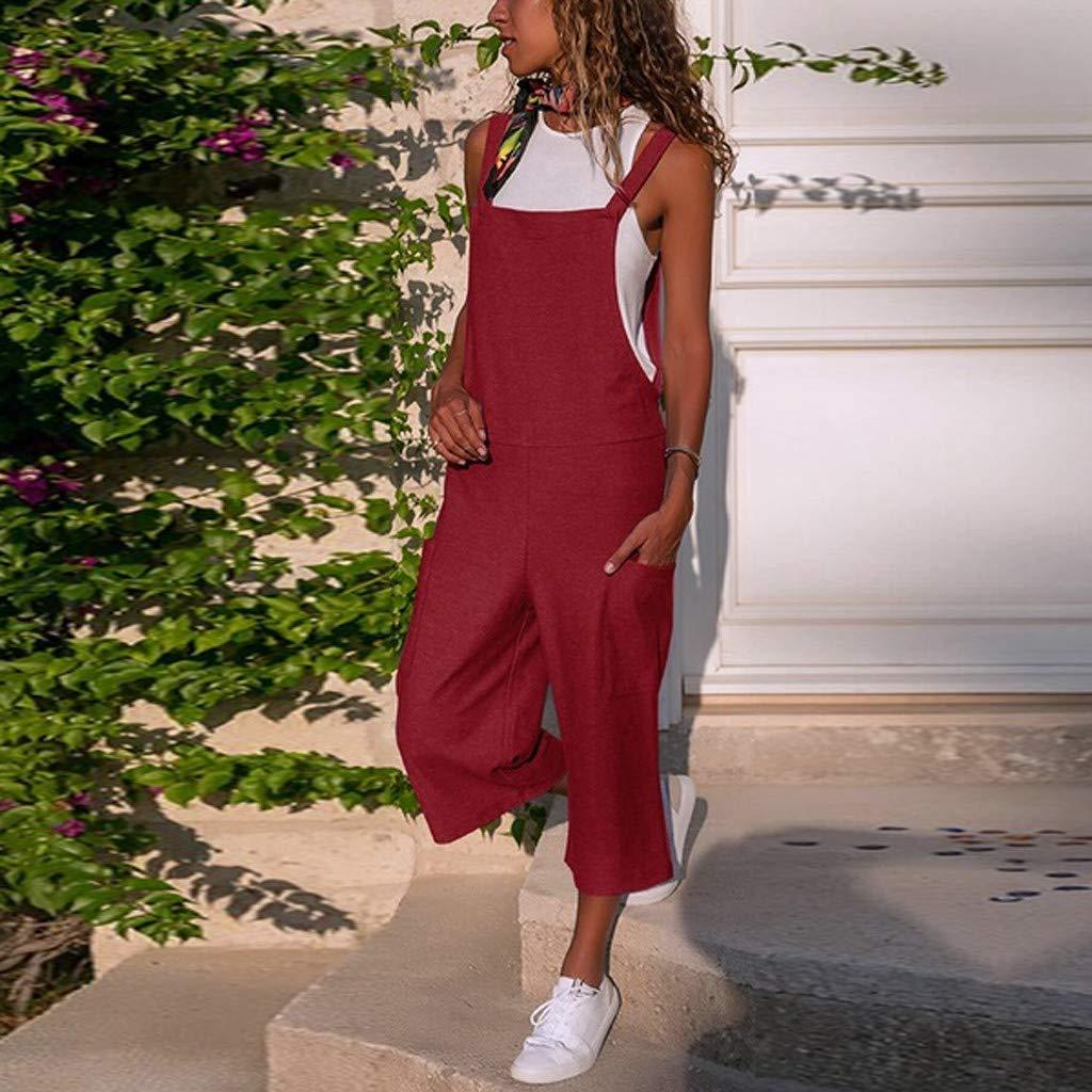 LISTHA Loose Cotton Linen Jumpsuit Women Sleeveless Cargo Long Playsuit Capris
