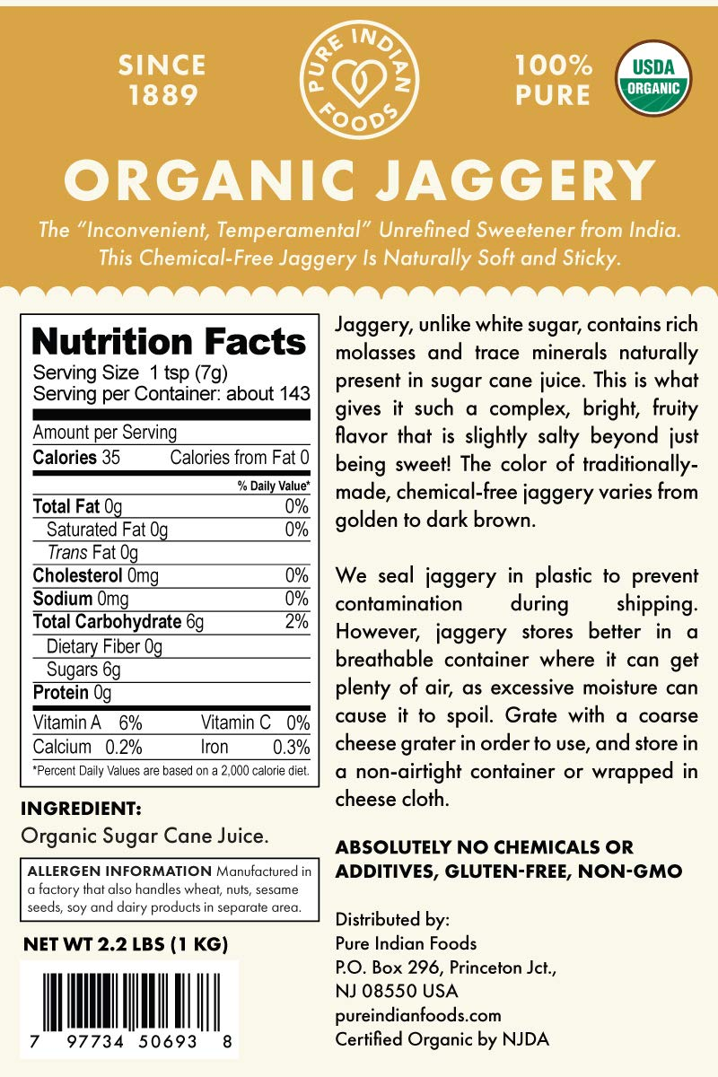 2 2 Lbs  Organic Jaggery - Pure Indian Foods(R) Brand - Known As Gur, Gud  or Panela - Raw