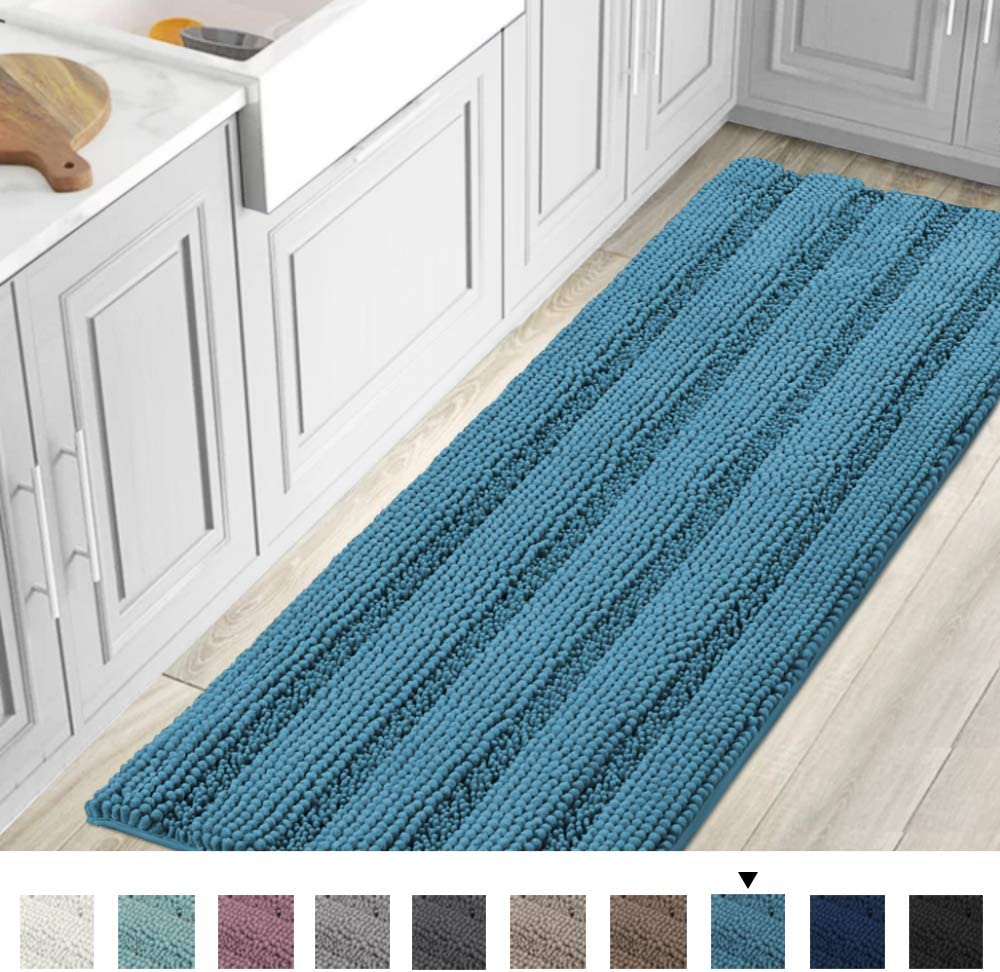 59x20 Inch Large Luxury Turquoise Blue Chenille Striped Bath Mat Soft Shaggy Bathroom Rugs Non-Slip Kitchen Rugs Microfiber Washable Water Absorbent Bath Rug Runners for Floor Bathroom Bedroom