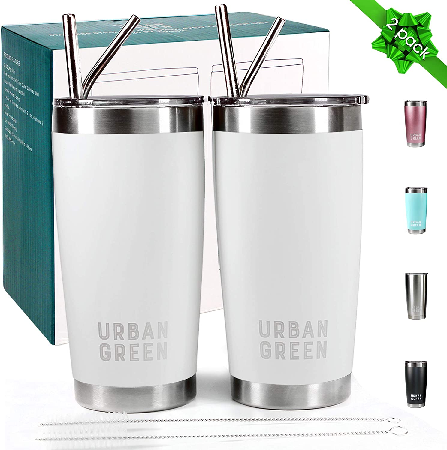 20oz Stainless Steel Tumblers with Lids Urban Green,Vacuum Insulated Coffee Cup Mug, Double Wall Travel tumbler with Spill-Proof Lid, 2 Pack, 4 Straws, Pipe Brus, Father's Day Gift Pearl White