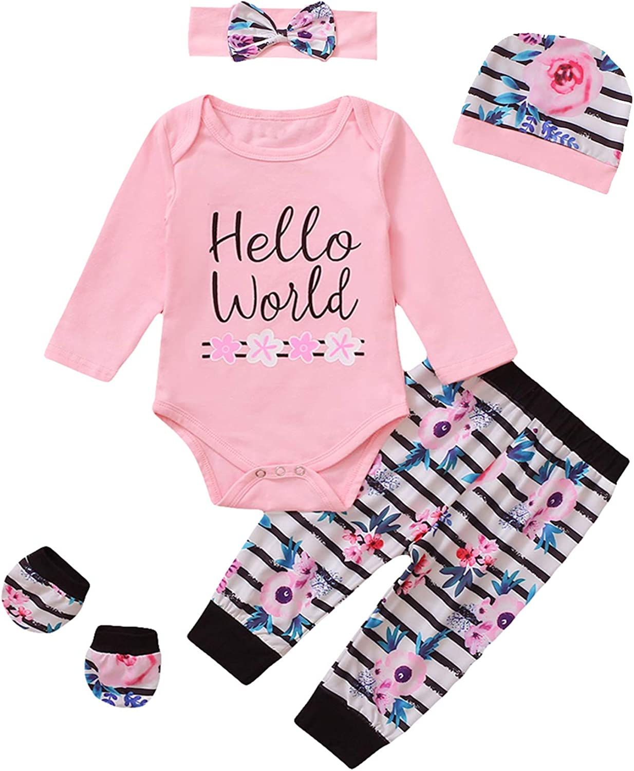Shalofer Newborn Hello World Outfits Floral Baby Coming Home Bodysuit