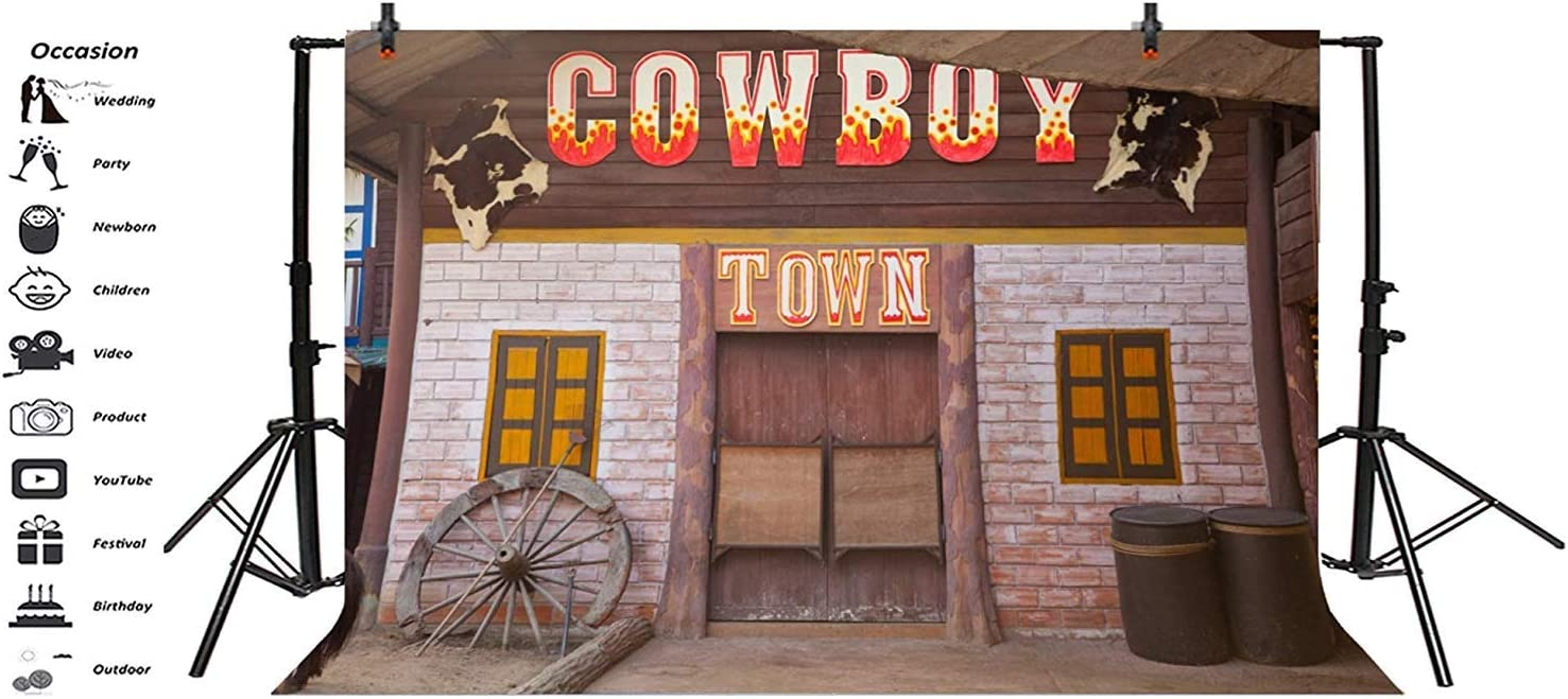 10x7ft Old Cowboy Town Saloon Doorway Vinyl Photography Background Western Theme Backdrop Adult Cowboy Portrait Shoot Desolate Small Town Wallpaper Studio Props
