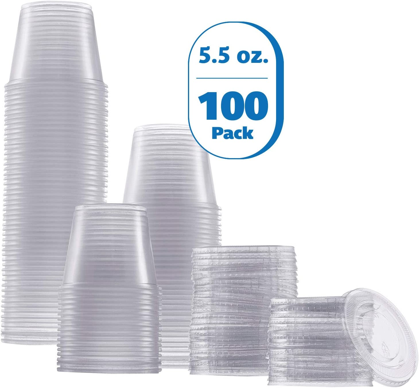 Zeml Portion Cups with Lids (5.5 Ounces, 100 Pack) | Disposable Plastic Cups for Meal Prep, Portion Control, Salad Dressing, Jello Shots, Slime & Medicine | Premium Small Plastic Condiment Container