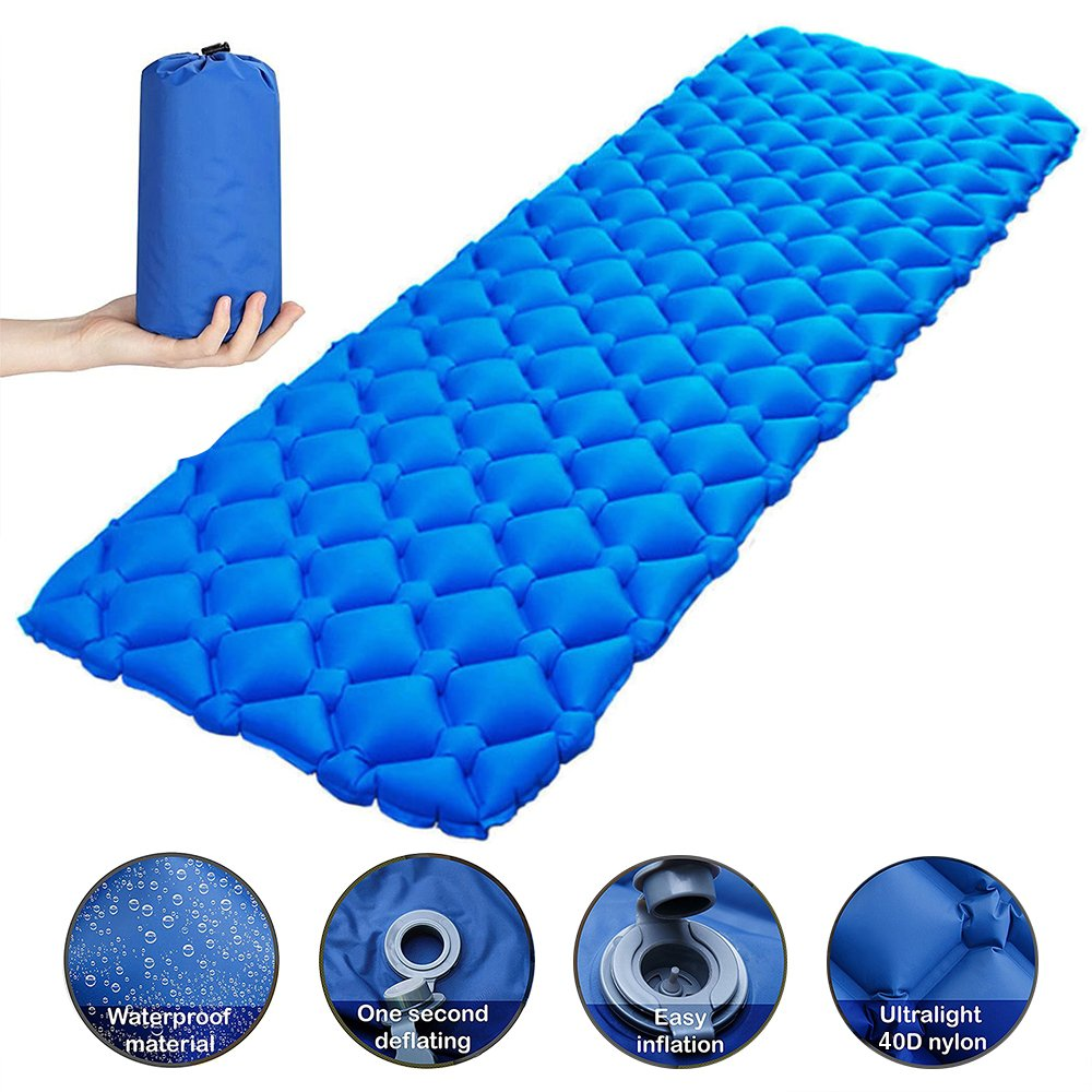 CAMPORT Inflatable Sleeping Pad Lightweight Camping, 40D Nylon Ultralight Compact Waterproof Air Camping Mat Comfy Backpacking, Traveling Hiking