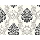 York Wallcoverings AB2027 Black and White Damask Wallpaper, Cream/Gray/Black