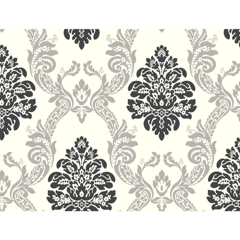 York Wallcoverings AB2027 Black And White Damask Wallpaper Cream Gray