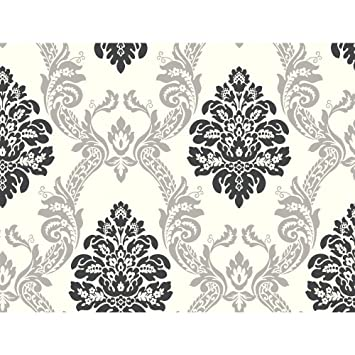 AB1940 Black &- White Neo Classic Damask Wallpaper by York