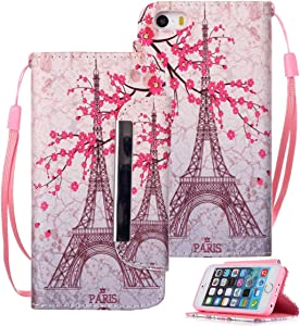 Etubby iPhone SE Case, iPhone 5s Case, iPhone 5s Wallet Case, [Wallet Stand] New PU Leather Wallet Flip Protective Case with Card Slots and Wrist Strap for Apple iPhone SE & iPhone 5 5s - Paris