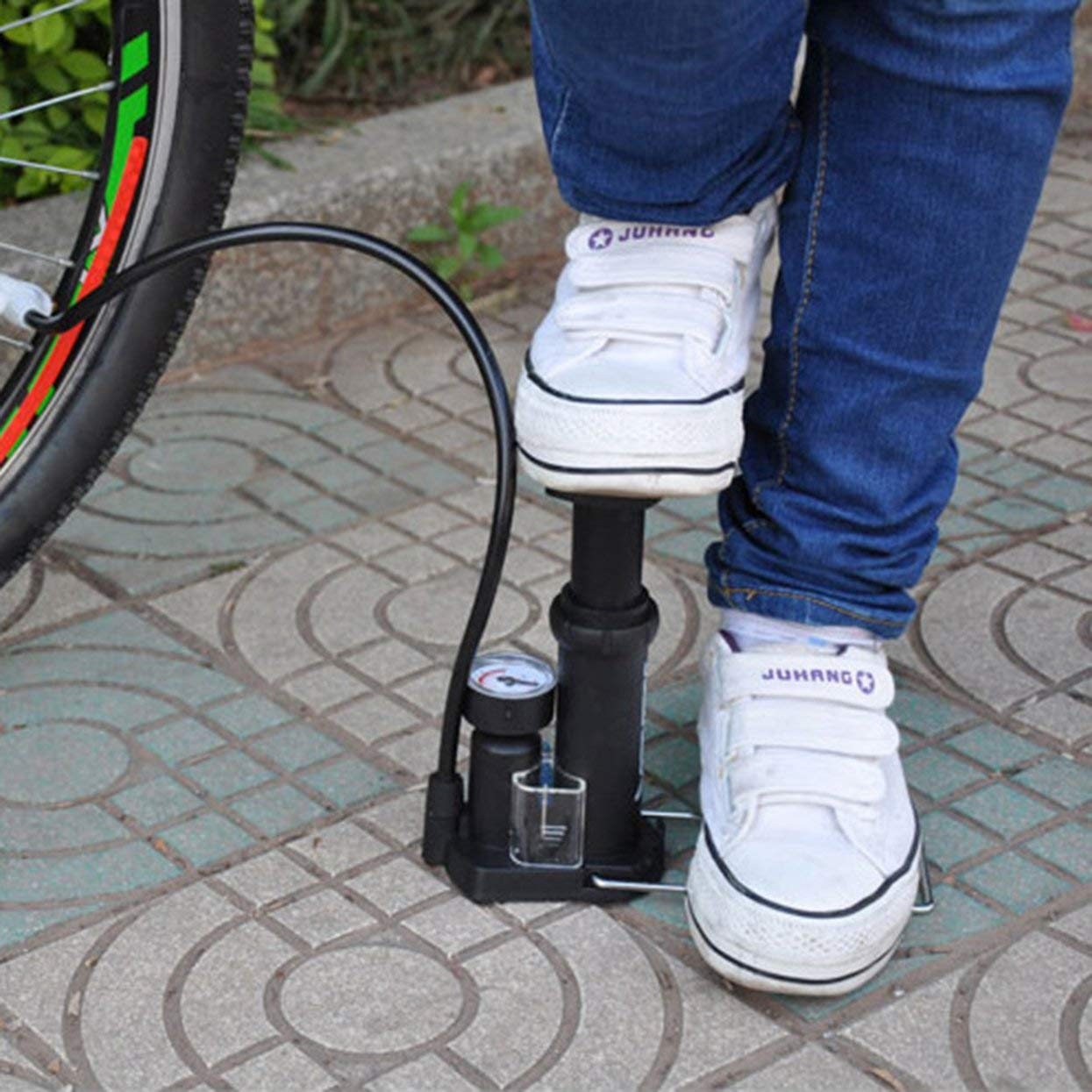 Lamijca Mini High Pressure Air Pump Bike Tire Ball Floor Foot Mountain Bike Cycling Bicycle Pump with Pressure Gauges