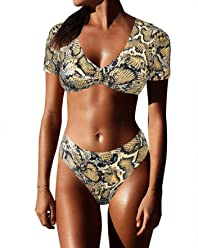 7bf67f3146db0 OMKAGI Women's Short Sleeve Bikini Set Sport Swimsuit Top High Cut Thong  Bottom
